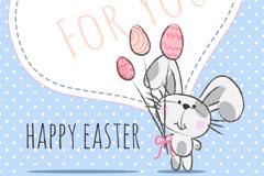 清新卡通兔子背景矢量素材