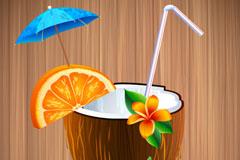 精美椰子汁背景矢量素材