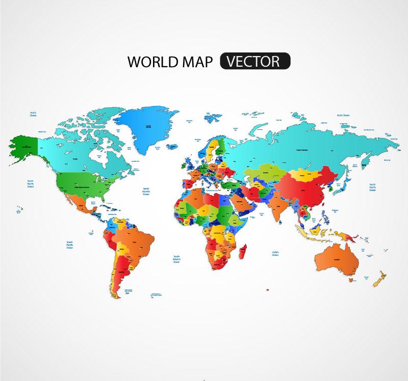 精美彩色世界地图矢量素材