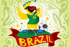 巴西世界杯鹦鹉背景矢量素材