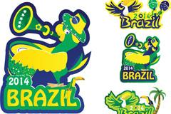 巴西世界杯鹦鹉与大嘴鸟标贴矢量