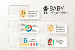 创意婴儿贴纸信息图矢量素材