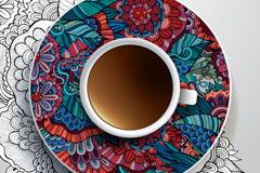 花纹碟子与咖啡矢量素材