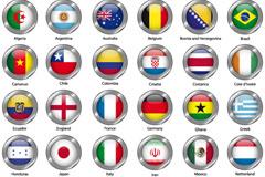 2014世界杯32强国旗图标矢量素材