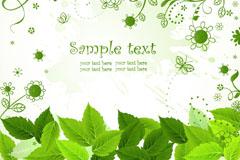 精美绿叶花纹背景矢量素材