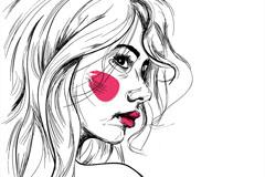 创意女子草图矢量素材