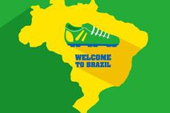巴西世界杯地图背景矢量素材