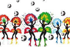 巴西桑巴足球背景矢量素材