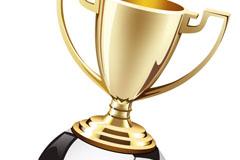 精巧奖杯与足球设计矢量素材图片