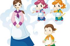 4款韩国人物和花纹设计矢量素材