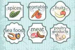 9款复古食品标签矢量素材