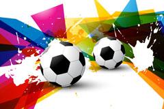彩色足球墨迹背景矢量素材