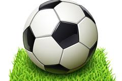 逼真足球与绿荫地背景矢量素材
