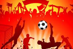 足球赛人物剪影背景矢量素材