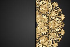 金色蕾丝花纹背景矢量素材