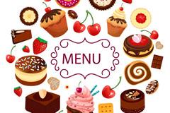 卡通甜品菜单矢量素材