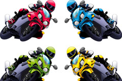 4款时尚摩托赛车手矢量素材
