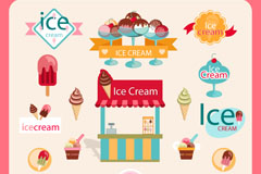彩色冰淇淋元素标签矢量素材