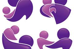 4款紫色母子标志符号矢量素材