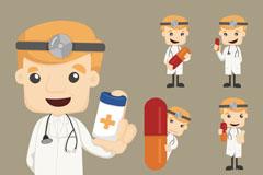 5款卡通医生设计矢量素材