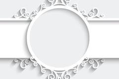白色花纹剪纸背景矢量素材