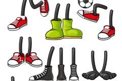 卡通人物鞋子设计矢量素材
