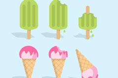 夏季雪糕和冰淇淋矢量素材