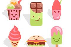 6款可爱卡通甜品矢量素材