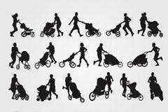 16款推婴儿车人物剪影矢量素材