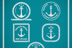 清新船锚标签矢量素材