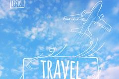 手绘飞机旅行背景矢量素材