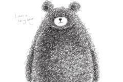 可爱手绘棕熊矢量素材