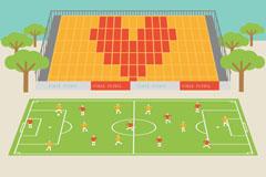 卡通足球场插画矢量素材