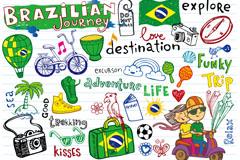 童趣巴西世界杯元素矢量素材