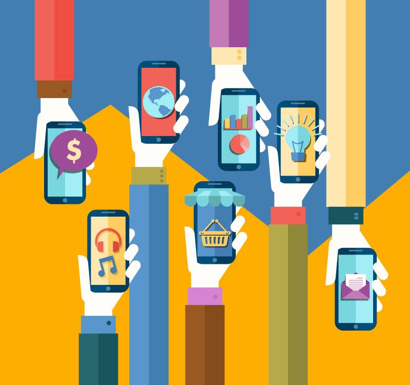 创意手机电子商务背景矢量素材图片