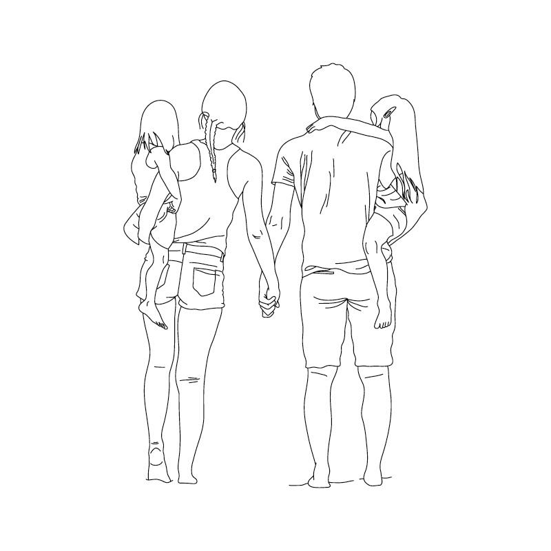父女牵手手绘_含jpg预览图,关键字:家庭,孩子,女孩,父亲,母亲,夫妇,牵手,家庭,父女