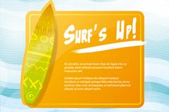 夏季冲浪板背景矢量素材