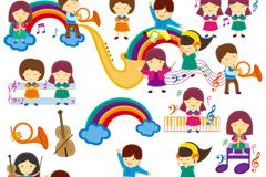 可爱卡通儿童音乐课设计矢量素材
