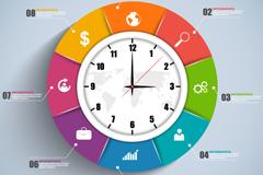 彩色时钟商务信息图矢量素材