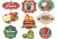 12款复古水果标签矢量素材