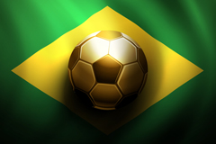金色足球巴西国旗背景矢量素材