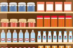 乳制品与饮品货架矢量素材