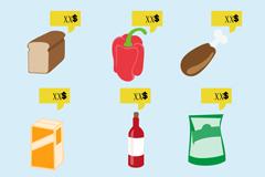 带价格牌的食品矢量素材