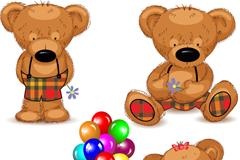 4款可爱泰迪熊矢量素材