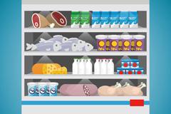 超市冷鲜柜矢量素材
