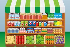 卡通卖食品便利店矢量素材