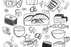 手绘美味日式食品矢量素材