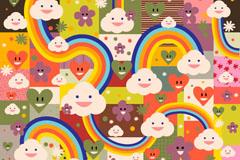 卡通彩虹云朵背景矢量素材