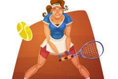 卡通网球运动员矢量素材