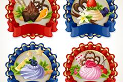 4款精美甜品标签矢量素材